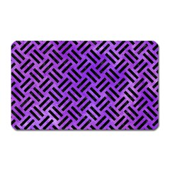 Woven2 Black Marble & Purple Watercolor Magnet (rectangular) by trendistuff