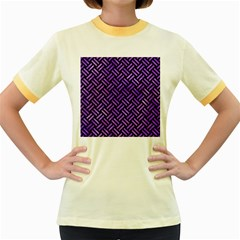 Woven2 Black Marble & Purple Watercolor (r) Women s Fitted Ringer T Shirts by trendistuff