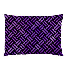 Woven2 Black Marble & Purple Watercolor (r) Pillow Case (two Sides) by trendistuff
