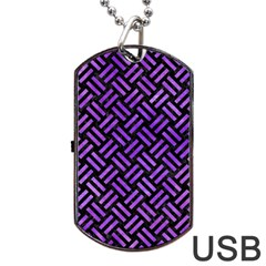 Woven2 Black Marble & Purple Watercolor (r) Dog Tag Usb Flash (two Sides) by trendistuff