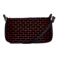 Brick1 Black Marble & Red Brushed Metal (r) Shoulder Clutch Bags by trendistuff