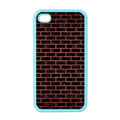 Brick1 Black Marble & Red Brushed Metal (r) Apple Iphone 4 Case (color) by trendistuff