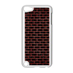 Brick1 Black Marble & Red Brushed Metal (r) Apple Ipod Touch 5 Case (white) by trendistuff