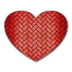 Brick2 Black Marble & Red Brushed Metal Heart Mousepads by trendistuff