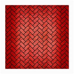 Brick2 Black Marble & Red Brushed Metal Medium Glasses Cloth (2 Side) by trendistuff
