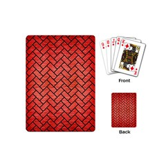 Brick2 Black Marble & Red Brushed Metal Playing Cards (mini)  by trendistuff