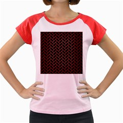 Brick2 Black Marble & Red Brushed Metal (r) Women s Cap Sleeve T Shirt by trendistuff