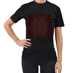 Brick2 Black Marble & Red Brushed Metal (r) Women s T Shirt (black) (two Sided) by trendistuff