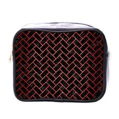 Brick2 Black Marble & Red Brushed Metal (r) Mini Toiletries Bags by trendistuff
