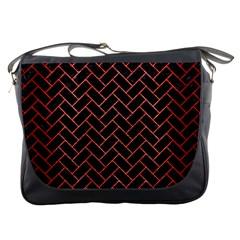 Brick2 Black Marble & Red Brushed Metal (r) Messenger Bags by trendistuff