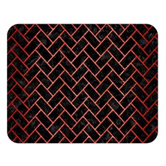 Brick2 Black Marble & Red Brushed Metal (r) Double Sided Flano Blanket (large)  by trendistuff