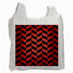 Chevron1 Black Marble & Red Brushed Metal Recycle Bag (two Side)  by trendistuff
