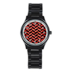 Chevron1 Black Marble & Red Brushed Metal Stainless Steel Round Watch by trendistuff