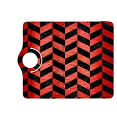 Chevron1 Black Marble & Red Brushed Metal Kindle Fire Hdx 8 9  Flip 360 Case by trendistuff