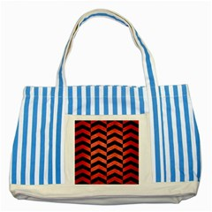 Chevron2 Black Marble & Red Brushed Metal Striped Blue Tote Bag by trendistuff