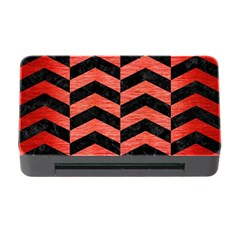 Chevron2 Black Marble & Red Brushed Metal Memory Card Reader With Cf by trendistuff