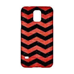 Chevron3 Black Marble & Red Brushed Metal Samsung Galaxy S5 Hardshell Case  by trendistuff