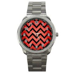 Chevron9 Black Marble & Red Brushed Metal Sport Metal Watch by trendistuff