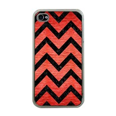 Chevron9 Black Marble & Red Brushed Metal Apple Iphone 4 Case (clear) by trendistuff