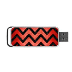 Chevron9 Black Marble & Red Brushed Metal Portable Usb Flash (one Side) by trendistuff