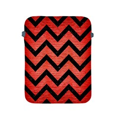 Chevron9 Black Marble & Red Brushed Metal Apple Ipad 2/3/4 Protective Soft Cases by trendistuff