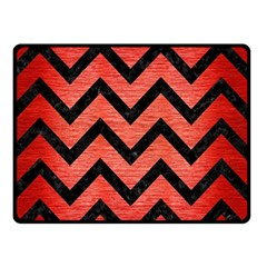 Chevron9 Black Marble & Red Brushed Metal Double Sided Fleece Blanket (small)  by trendistuff