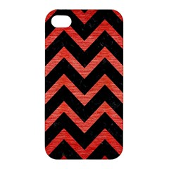 Chevron9 Black Marble & Red Brushed Metal (r) Apple Iphone 4/4s Hardshell Case by trendistuff