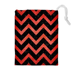 Chevron9 Black Marble & Red Brushed Metal (r) Drawstring Pouches (extra Large) by trendistuff