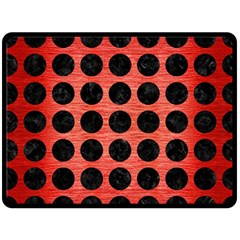 Circles1 Black Marble & Red Brushed Metal Double Sided Fleece Blanket (large)  by trendistuff