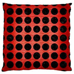 Circles1 Black Marble & Red Brushed Metal Large Flano Cushion Case (two Sides) by trendistuff