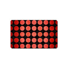 Circles1 Black Marble & Red Brushed Metal (r) Magnet (name Card) by trendistuff
