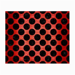 Circles2 Black Marble & Red Brushed Metal Small Glasses Cloth (2 Side) by trendistuff