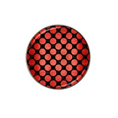 Circles2 Black Marble & Red Brushed Metal (r) Hat Clip Ball Marker (10 Pack) by trendistuff