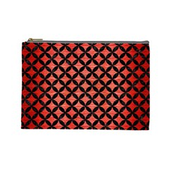 Circles3 Black Marble & Red Brushed Metal Cosmetic Bag (large)  by trendistuff