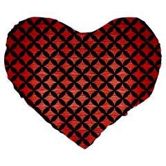 Circles3 Black Marble & Red Brushed Metal Large 19  Premium Heart Shape Cushions by trendistuff