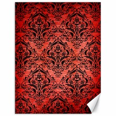 Damask1 Black Marble & Red Brushed Metal Canvas 18  X 24   by trendistuff