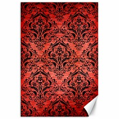 Damask1 Black Marble & Red Brushed Metal Canvas 20  X 30   by trendistuff