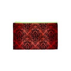 Damask1 Black Marble & Red Brushed Metal Cosmetic Bag (xs) by trendistuff
