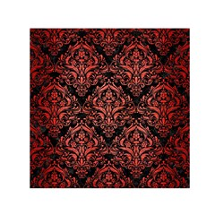 Damask1 Black Marble & Red Brushed Metal (r) Small Satin Scarf (square) by trendistuff