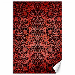 Damask2 Black Marble & Red Brushed Metal Canvas 24  X 36  by trendistuff
