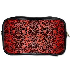 Damask2 Black Marble & Red Brushed Metal Toiletries Bags 2 Side by trendistuff