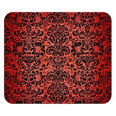 Damask2 Black Marble & Red Brushed Metal Double Sided Flano Blanket (small)  by trendistuff