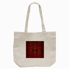 Damask2 Black Marble & Red Brushed Metal (r) Tote Bag (cream) by trendistuff