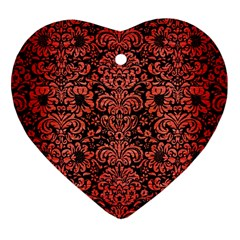Damask2 Black Marble & Red Brushed Metal (r) Heart Ornament (two Sides) by trendistuff