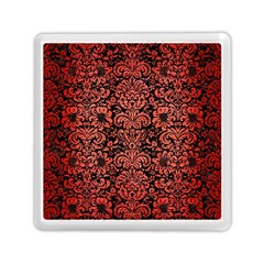 Damask2 Black Marble & Red Brushed Metal (r) Memory Card Reader (square)  by trendistuff