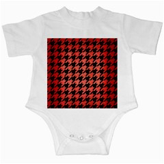 Houndstooth1 Black Marble & Red Brushed Metal Infant Creepers by trendistuff