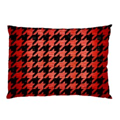 Houndstooth1 Black Marble & Red Brushed Metal Pillow Case by trendistuff