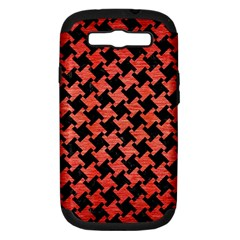 Houndstooth2 Black Marble & Red Brushed Metal Samsung Galaxy S Iii Hardshell Case (pc+silicone) by trendistuff