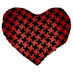 Houndstooth2 Black Marble & Red Brushed Metal Large 19  Premium Flano Heart Shape Cushions by trendistuff