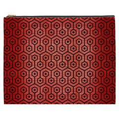Hexagon1 Black Marble & Red Brushed Metal Cosmetic Bag (xxxl)  by trendistuff